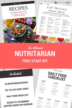 Starting Eat to Live?  Here's my free Eat to Live Startup Kit! It's everything you need to get started once you've read the book! My Nutritarian recipe book, an Eat to Live cheat sheet, a daily food checklist, and access into our free Eat to Live Support Group on Facebook.  Eat to Liveis a whole-food,
