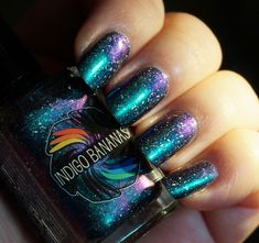 Nature of Your Reality - teal/bright green-blue multichrome linear holographic with holographic flakies, nail polish by Indigo Bananas Light Nail Polish, Nail Polish Art, Nail Polishes, Beautiful Nail Designs, Cute Nail Designs, Cute Nails, Pretty Nails, Hair And Nails, My Nails