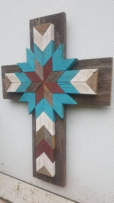 Turquoise Ivory Barn Red Distressed Cedar Wood Cross Wood Wall Art Quiltwork Chevron Design Hanging Wall Decor Rustic Weathered Wood Cross