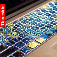 Van Gogh's Starry Night-Macbookdecal Macbook Keyboard Decal Macbook Pro/Air Keyboard Skin Sticker Macbook vinyl sticker Keyboard cover