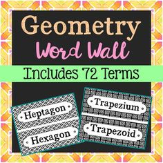 Geometry Vocabulary Math Word Wall. Each of the 72 geometry terms has been created in black and white for super easy printing. Some of the terms include: Intersecting Lines, Isosceles Triangle, Kite, Line, Line Segment, Mean, Nonagon, Obtuse Angle, Obtuse Triangle, Octagon, Origin, Parallel Line, Parallelogram, Pentagon, Perimeter, Perpendicular Lines, Plane, Point, Polygon, Prism, Quadrilateral, Radius, Ray, Rectangle, Rhombus