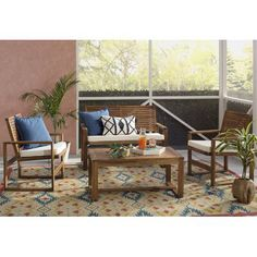 Black Diamond 4 Piece Lounge Seating Group with Cushions