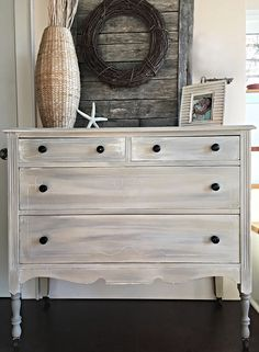 Dresser painted with Country Grey Chalk Paint®, then accented with French Linen and followed by and Old White was | Beautiful project by Terri Buckland of The Little Red Door