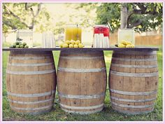 Wine Barrel Bar- great idea for outdoor party. Wine Barrel Wedding, Wine Barrel Table, Barrel Bar, Wine Barrels, Bourbon Barrel, Outdoor Parties, Outdoor Entertaining, Outdoor Weddings, Backyard Parties