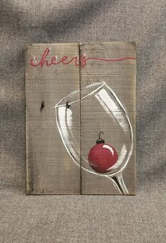Christmas wine, pallet wall art decor, red christmas pear, christmas deco … - Crafts for adult Pallet Christmas, Christmas Wine, Easy Christmas Crafts, Christmas Projects, Simple Christmas, Christmas Bulbs, Christmas Decorations, Christmas Canvas, Christmas Paintings On Canvas