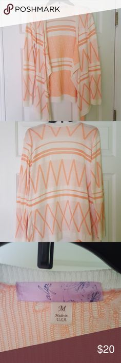 Cream and coral cardigan Long sleeve cardigan From francesca's  Size medium Got as a gift,  never worn Francesca's Collections Sweaters Cardigans