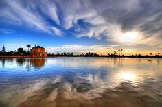 Marrakesh, Morocco - I love the reflection of the clouds on the water.