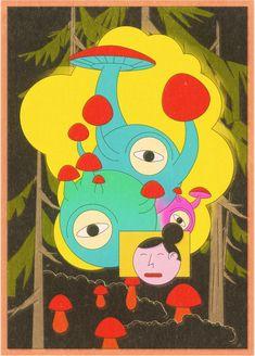Mushrooms, trip, psychedelic Psychedelic, Pikachu, Stuffed Mushrooms, Kids Rugs, Illustration, Fictional Characters, Home Decor, Art, Stuff Mushrooms