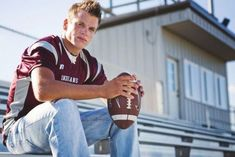 Football Senior Photos, Football Poses, Football Pictures, Cheer Pictures, Softball Pics, Volleyball Pictures, Boy Senior Portraits, Senior Boy Poses, Male Portraits