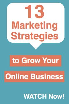 Free Video - 13 Marketing Strategies to Grow Your Online Business