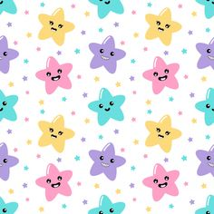 Kawaii Cute Stars Pastel With Funny Faces Cartoon Seamless Pattern On White Background For Kids. Rainbow Wallpaper, Star Wallpaper, Colorful Wallpaper, Pattern Wallpaper, Cute Backgrounds, Cute Wallpapers, Wallpaper Backgrounds, Kids Background, Cartoon Background