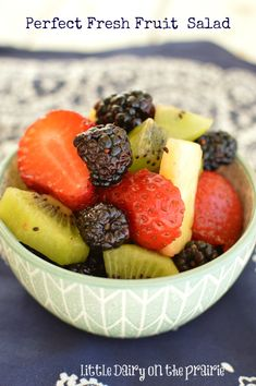 This fresh fruit salad is not only gorgeous eye candy, it tastes absolutely amazing! It's just right!  Little Dairy on the Prairie