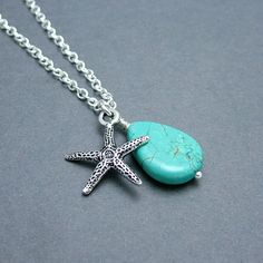 Turquoise Teardrop and Starfish Necklace by SweetBlueBirdJewelry, $19.50
