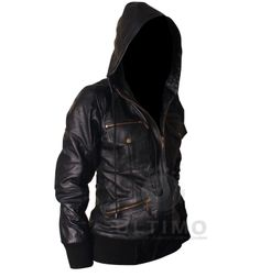 Womens hooded black leather jacket