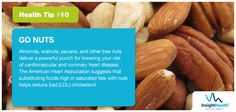 #Healthtip - Almonds, walnuts, and other tree nuts deliver a powerful punch for lowering your risk of heart disease.