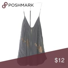 URBAN OUTFITTERS: gray and cold silk zipper tank Dark gray flowy tank with gold leaflet detail across, t back, and gold zipper down front Urban Outfitters Tops Tank Tops