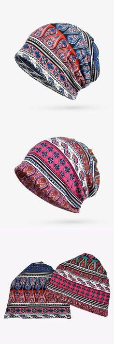 Women Cotton Geometric Print Beanie Cap Casual Outdoor Scarf And Hat Double Use #fashion #style #Hat