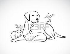 Vecteur groupe d animaux de compagnie chien chat oiseau lapin isol sur fond blanc Banque d'images