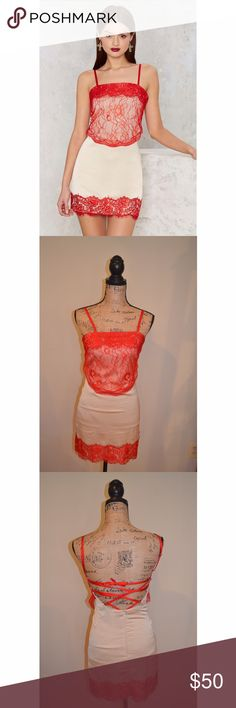 NWOT Nasty Gal Sleep When You're Dead Lace Dress NWOT, never worn! Nasty gal sleep when you're dead Dress. Size: XXS but seems to run big. Colors: red and nude. Beautiful dress! Sleepwear is cool... sleep isn't tho. The Sleep When You're Dead Dress is a lingerie-inspired cami dress featuring red lace detail, lattice cami straps, and a fully lined nude satin body. Adjustable straps and tie closure lattice. Team it up with your bedroom eyes and your all nighter. By Nasty Gal.*Polyester/Spandex…