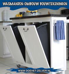 Witte wasmand ombouw gebouwd met behulp van een bouwtekening! #wasmandombouw #ombouw #wasmand #wasmachine