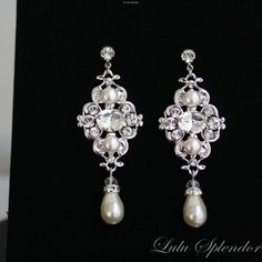 Ivory pearl Earrings Bridal Earrings with by LuluSplendor on Etsy, $55.00
