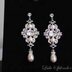 ElfenbeinPerlenOhrringe Bridal Ohrringe mit von LuluSplendor