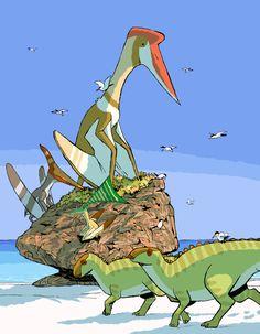 Quetzalcoatlus, Pteranodon, Nyctosaurus, Ichthyornis and Brachylophosaurus
