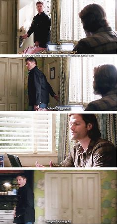 "11x06 Our Little World [gifset] - ""Where'd you ditch the body?""  ""School playground"" - Sam and Dean Winchester; Supernatural - Sammy is not amused"