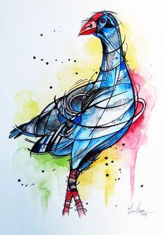 Proud Pukeko art by www.fiona-clarke.com