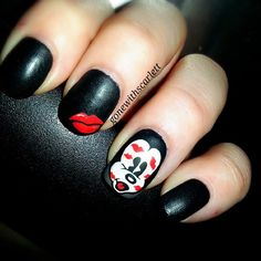 """""""OhhMickey!"""" - beautiful black rounded nails with a red lips decal on middle finger with Mickey face and red lip prints on his face decal on ring finger."""