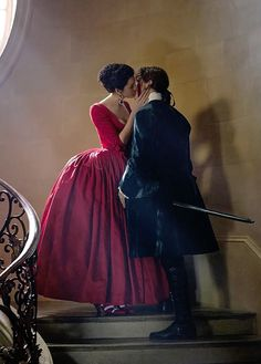 """outlander-news: """" vulture Exclusive image from #Outlande season two: Jamie and Claire embrace as our heroine wears her infamous red dress. Claire in a stunning costume inspired by Christian Dior's New..."""