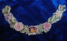 GORGEOUS Antique Ribbonwork Ribbon Work  Flower Doll Dress Silk Millinery Trim