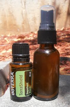Natural bug spray using TerraShield essential oil | Add 10 drops of TerraShield to a 1 ounce glass spray bottle and fill with water.