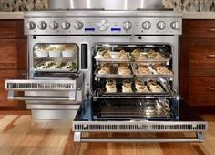"""From Thermador: This is the """"Ultimate Culinary Center"""". A 48"""" Dual-Fuel Range with a built-in warming drawer, steam oven, and convection oven. Complete with 6 Thermador Star Burners and an Electric Griddle that can be swapped out for a grill insert. by aimee"""