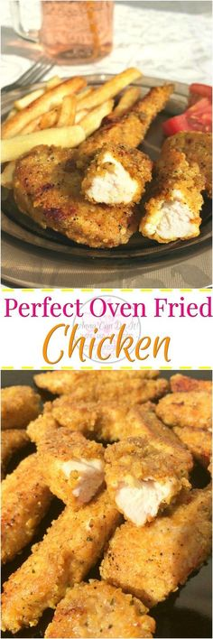 Perfect Oven Fried Chicken - Anna Can Do It! * This Oven Fried Chicken with crunchy breaded outside and juicy, soft inside is just perfect for dinner, lunch and even for a breakfast sandwich. Since it's a freezer friendly recipe, you can make these ahead. I Love Food, Good Food, Yummy Food, Tasty, Turkey Recipes, Chicken Recipes, Great Recipes, Favorite Recipes, Oven Fried Chicken