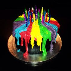 Melted candle birthday cake