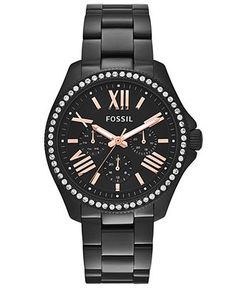 Fossil Women's Cecile Black-Tone Stainless Steel Bracelet Watch 40mm AM4522 - Fossil - Jewelry & Watches - Macy's