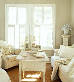 Worn paint suits cottage furniture. Paint furniture and rough it up with sandpaper for a time-worn finish.