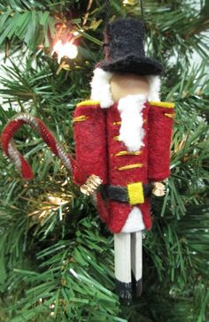 Nutcracker Ornament Clothespin Red by ModerationCorner on Etsy, $8.50