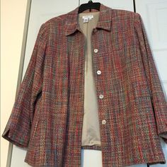 Rainbow Threads Coldwater Creek jacket 2x Woven with rainbow threads - beautiful! Worn a few times for one season - excellent condition. Too small for me now. Coldwater Creek Jackets & Coats
