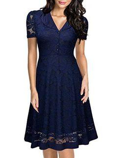 Women's Cap Dress Sleeve 1950s Style Vintage Black Lace A-line Dress