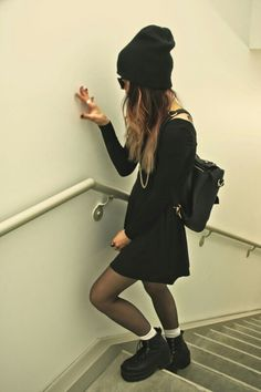 Black Long Sleeve Dress(LONGER) X Black Beanie x Black Boots x White Socks x Black Tights X Black Backpack x Dark Sunglasses
