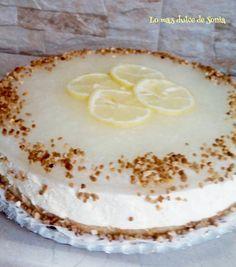 Se trata de una tarta mousse de limón con gelatina de Gin-Tonic del blog LO MÁS DULCE DE SONIA.
