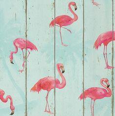 Papel pintado imitación madera con flamenco rosa PDW9479706-24