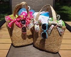 Cute Spring/Summer gift idea for Moms Day, Birthday, or Teacher! Fill a straw tote, (Target), with flip flops, beach towel, swim suit, sunglasses, nail polish, etc!