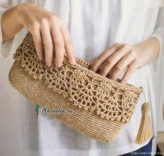 Crochet Diy, Crochet Simple, Crochet Purse Patterns, Crochet Pouch, Crochet Edgings, Bag Patterns, Stitch Patterns, Knitting Patterns, Crochet Clutch Bags