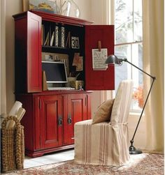 Campton Smart Technology Office Armoire, Desa Ming Red - traditional - bookcases cabinets and computer armoires - Pottery Barn