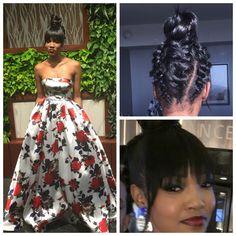 Messy knot bun w/ messy braidsProm Hair by @nvhairbygucci www.styleseat.com/thenvchic