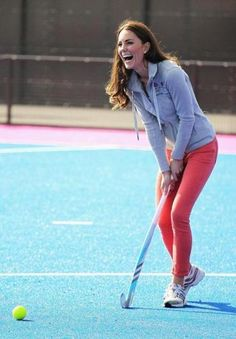 In red skinny jeans, Catherine, Duchess of Cambridge, played field hockey with the Great Britain Hockey Team last week.