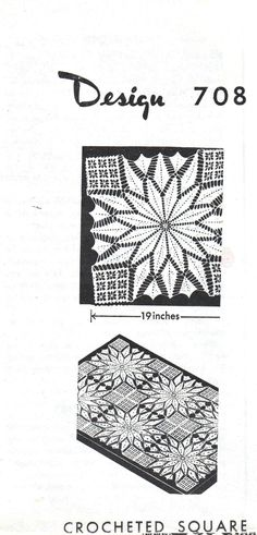 Vintage Crochet Pattern for 708 Double Star Square to Make Crochet Tablecloth Instant Download PDF Doily Patterns, Vintage Patterns, Crochet Patterns, Thread Crochet, Filet Crochet, Diy Crochet Tablecloth, Pineapple Squares, Pineapple Crochet, Row By Row